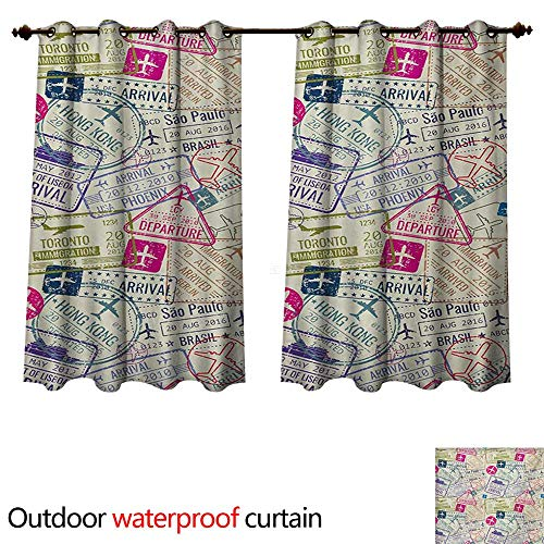 WilliamsDecor Travel Outdoor Curtains for Patio Sheer Passport and Visa Stamps Illustration of Toronto Hong Kong Berlin Print W63 x L72(160cm x 183cm) (Sheer Curtains Toronto)