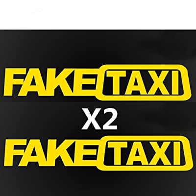 THE MIMI'S Fake Taxi Funny Car Sticker JDM Drift Race Vinyl Sticker Decal x2 (Yellow): Clothing