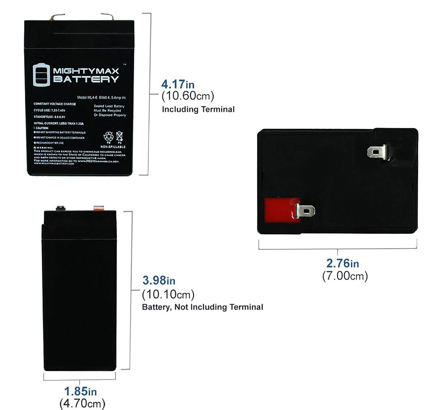 Mighty Max Battery ML4-6 - 6V 4.5AH Replacement Battery for YT-645 with F1 Terminal - 15 Pack Brand Product by Mighty Max Battery (Image #2)