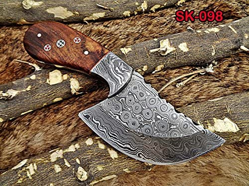 7 Long Compact Hand Forged Damascus Steel Wide Blade Skinning Knife with 3.5 Cutting, Natural Camel Bone Scale with Damascus Bolster, Cow Hide Leather Sheath