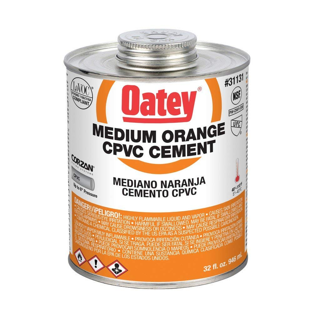 Oatey 31131 32 Oz. CPVC Pipe Hot and Cold Systems Solvent Cement Glue, Orange (6 Pack) by Oatey (Image #2)