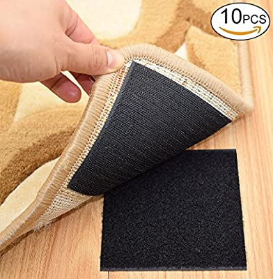 Rug Anchors Carpet Hook and Loop Non-slip Mat Anti-skid Stickers Square