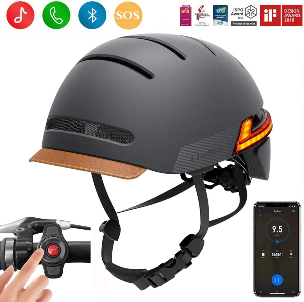 LIVALL Smart Bike Helmet with Auto Sensor LED,Turn Signal Tail Lights,Connects via Bluetooth, Certified Comfortable Cycling Helmet
