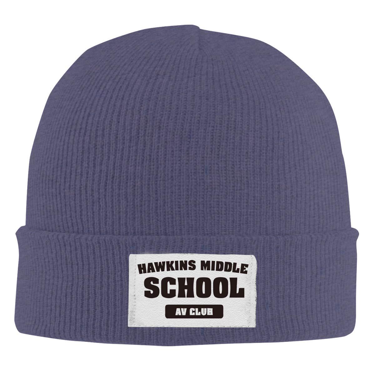 Stretchy Cuff Beanie Hat Black Skull Caps Hawkings Middle School AV Club Winter Warm Knit Hats