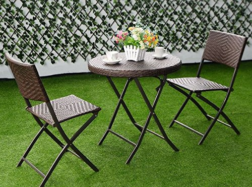 K&A Company Set Patio Table Chairs Iron Vintage Dining Woodard Wrought Mid Century Chair Cast Aluminum Folding Bistro Set Rattan Wicker Outdoor Furniture 3PC Brown (Iron Wrought Mid Furniture Patio Century)
