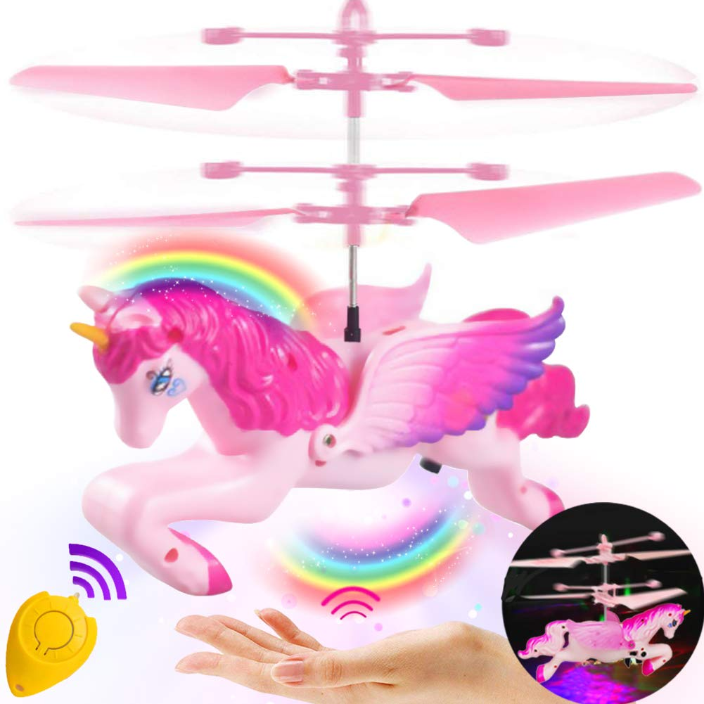 RC Flying Ball Toys,Unicorn RC Flying Helicopter Toys for Kids Boys Girls Birthday Gifts Infrared Induction Remote Control RC Drone Light Up Toys Sports Indoor Outdoor Games for Kids Flying Unicorn
