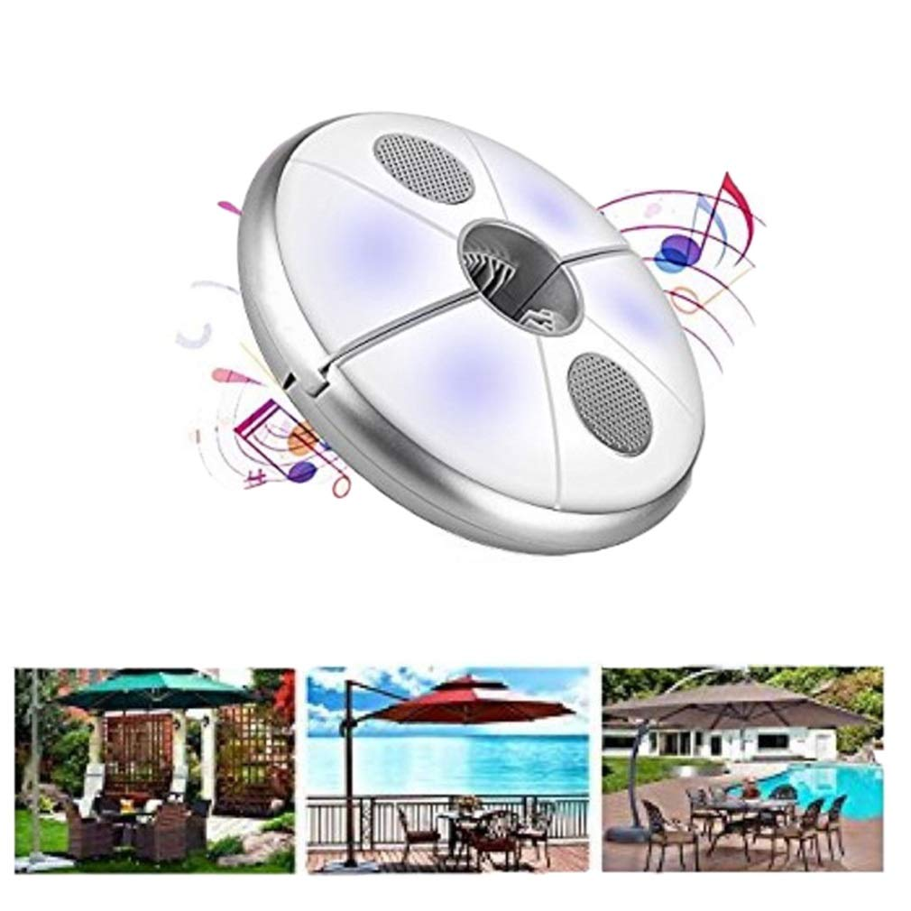 Umbrella Pole Light Parasol Light, Built-in Bluetooth Stereo Speakers, Bluetooth Speakers, for Camping Tent Gazebo Parasol Light (Size : OneSize) by LAMPSJN
