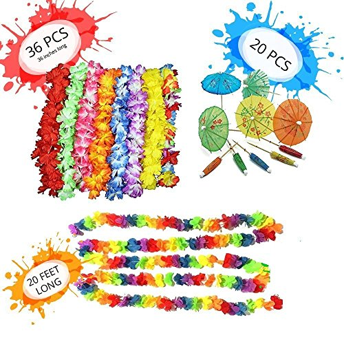 Adult Luau Birthday Party (Luau Party Supplies Decorations Pack - 36 Tropical Hawaiian Flower Leis Birthday Party Favors - 2x10 Ft Long Tropical Multicolored Garland - 20 Cocktail Drink Paper Parasol Umbrellas)