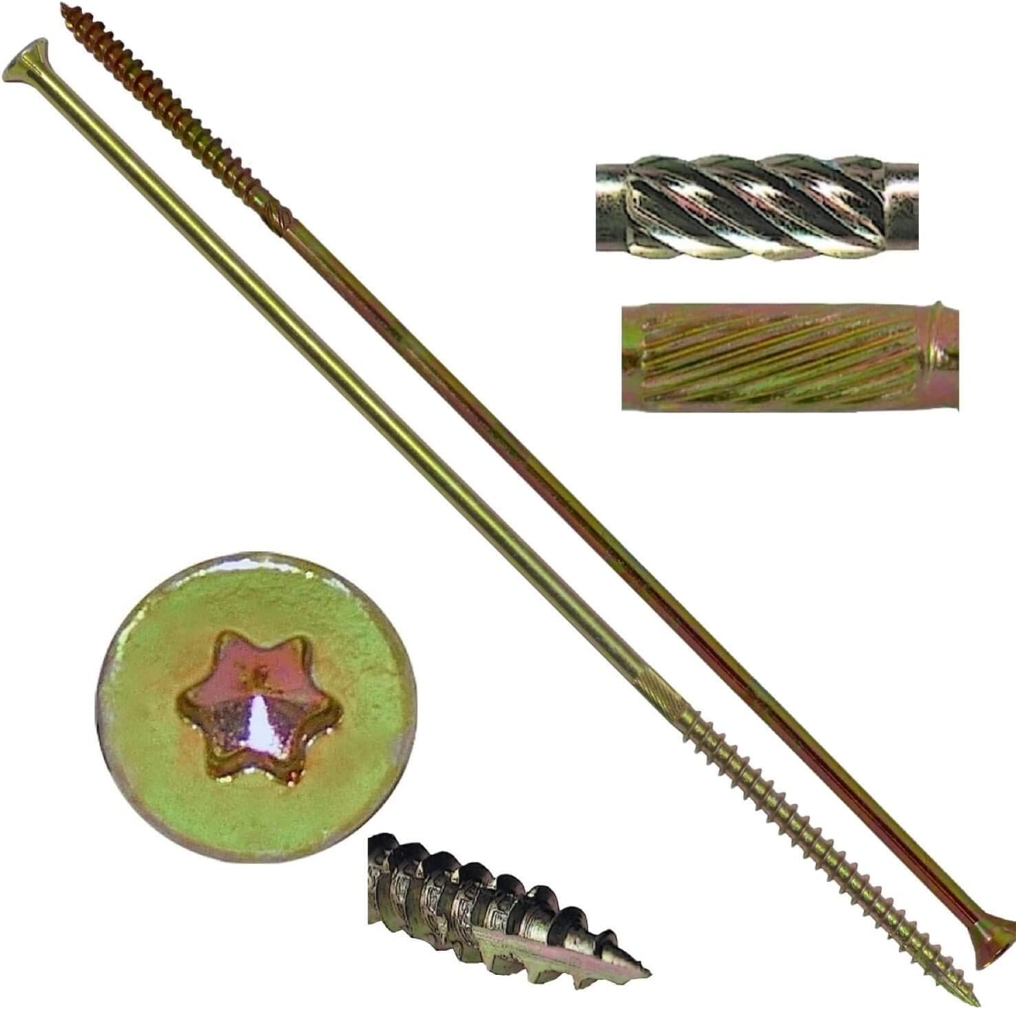 #14x8 Gold Star Wood Screw Torx//Star Drive Head 1 Pound - 19 Approx. Screw Count Multipurpose Torx//Star Drive Wood Screws