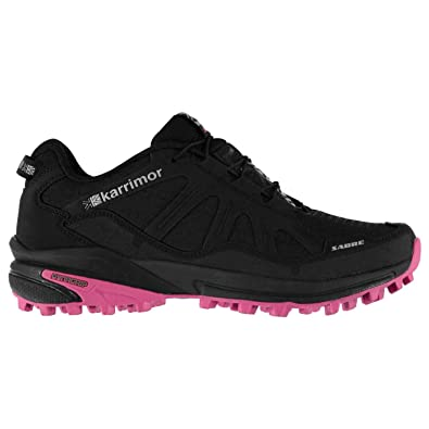63d554b3e54 Karrimor Womens Sabre Trail Running Shoes Textile Padded Ankle Collar  Black Pink UK 8 (