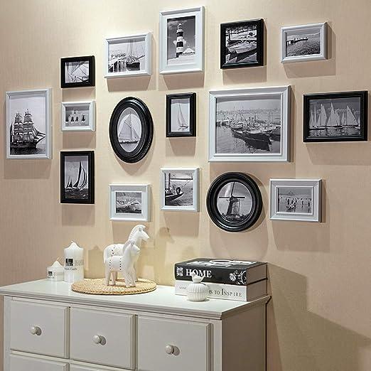 Conjuntos de Pared de Collage de Fotos de Cuadros múltiples de Madera para 16 Fotos en Familia Sala de Estar Escalera DIY Pintura Decorativa combinada (Negro Blanco): Amazon.es: Hogar