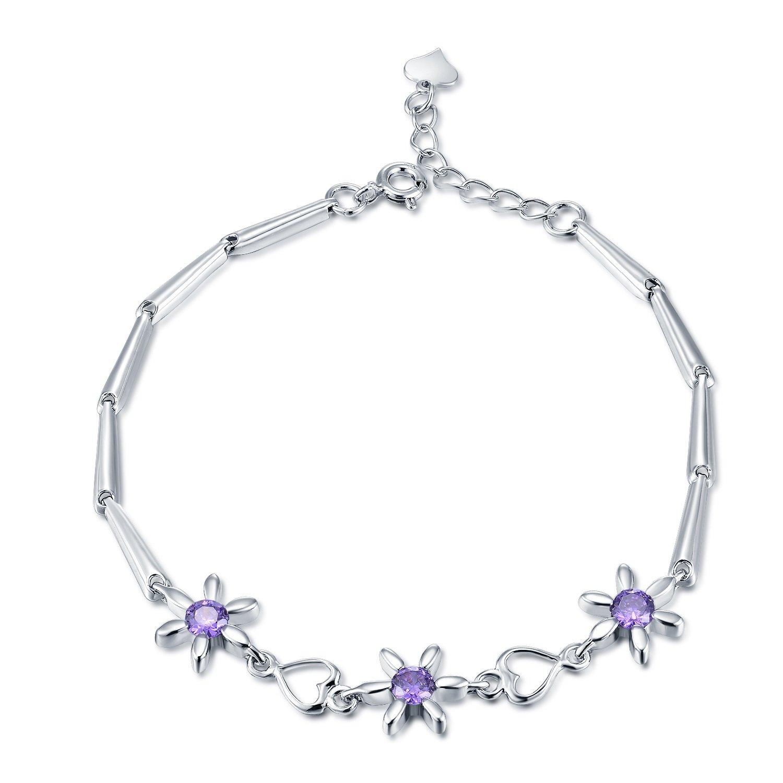 925 Sterling Silber Lila Cz Blume Herz Armband Frauen