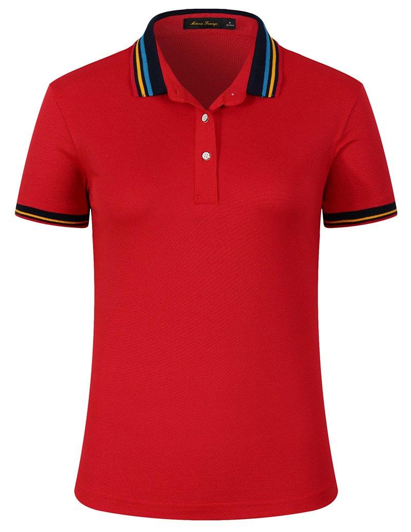 Mitario Femiego Women Classic Rainbow Stripe Collar Slim Fit Short Golf Polo Shirt Red S