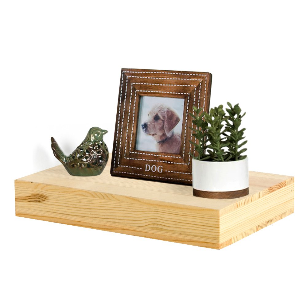 AHDECOR Natural Wood Deep Floating Wall Shelves, Solid Pine, Display Ledge Shelf Storage with Invisible Blanket (12 inch, Clear Coat Finish)