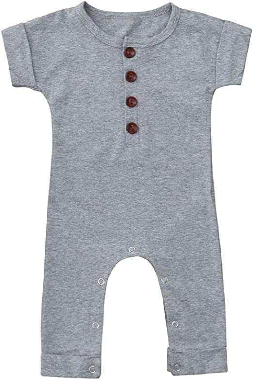 US Toddler Newborn Baby Clothes Boys Girls Solid Romper Bodysuit Jumpsuit Outfit