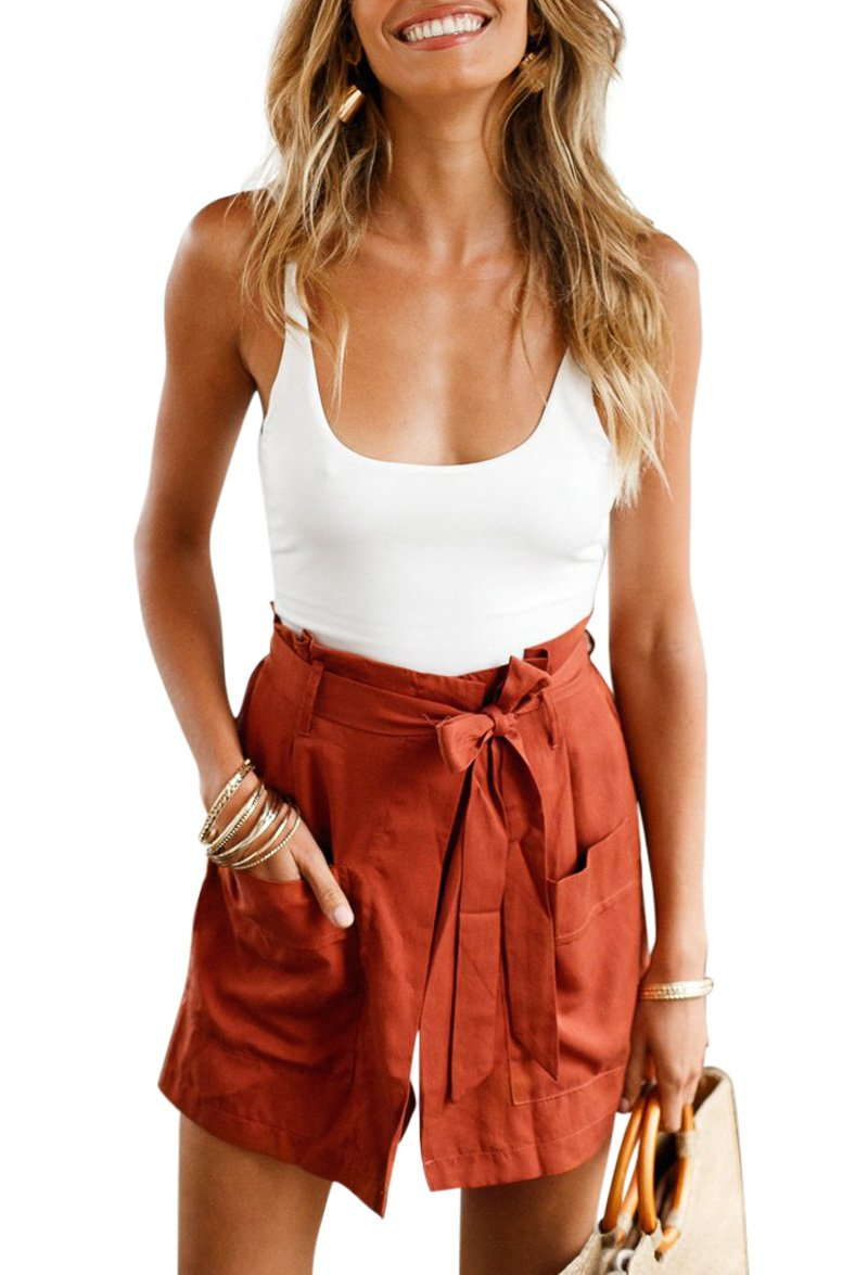 BELONGSCI Women Summer 2 Pieces Outfits Suit Spaghetti Strap Crop Top + Shorts Set with Belt (S=US4-6, Rusty red)