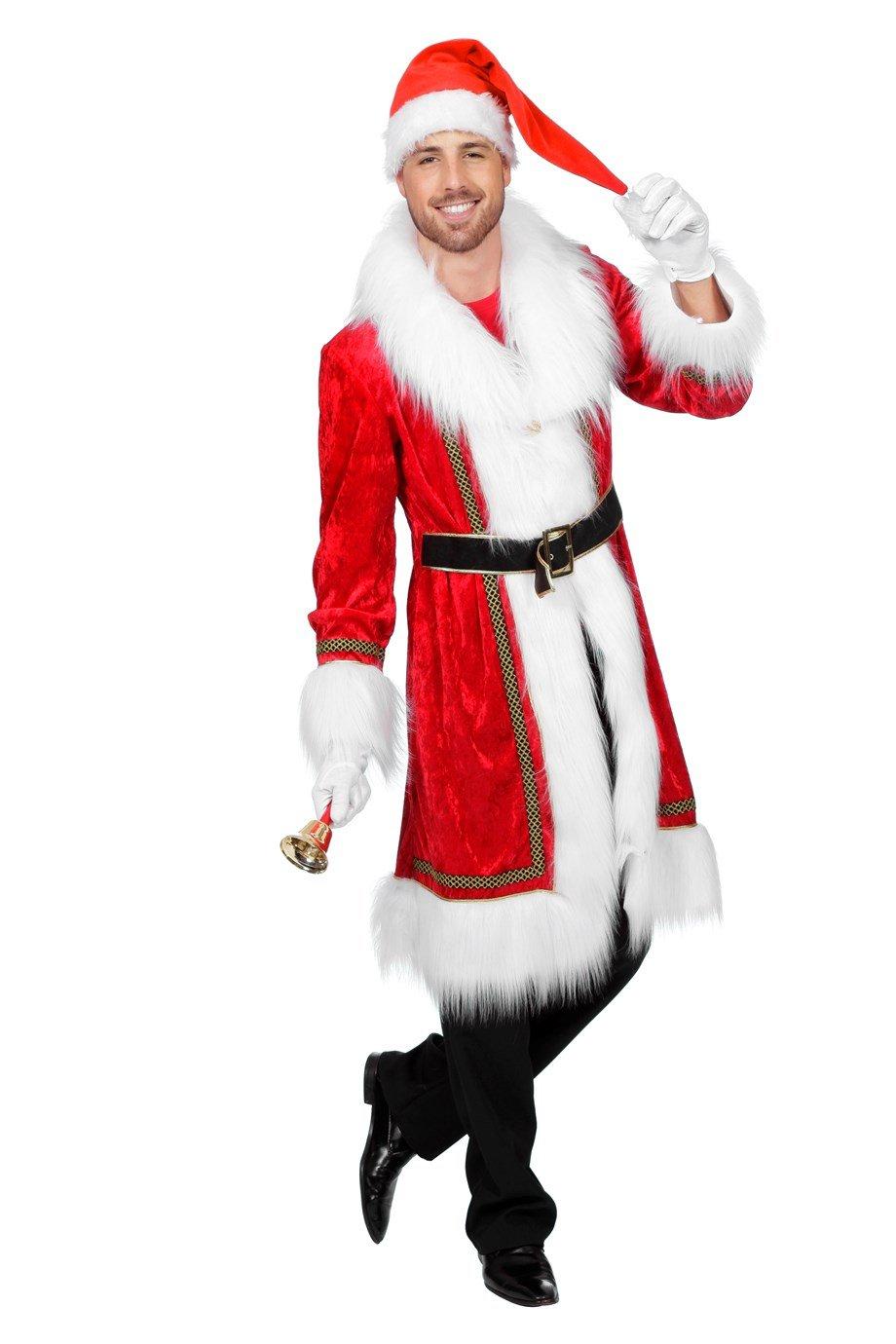 Nikolaus Mantel Samt Weihnachtsmann Kostüm (56 (XL))