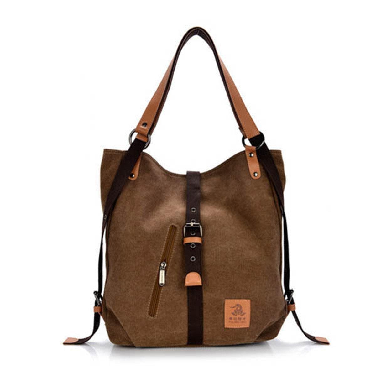 Unisex Canvas Shoulder Bag Casual Travel Daypack Backpack Large Capacity Handbag Messenger Hobo Tote Bag (Brown)