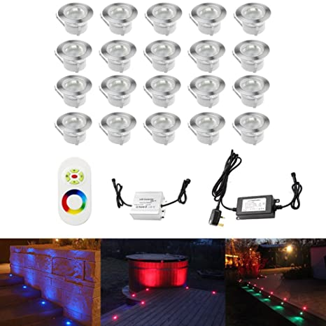 Pleasant 45Mm Colour Changing Led Decking Lights Kitchen Plinth Lights Low Voltage Ip67 Waterproof Deck Lighting Kits With Remote Control Set Of 20 Download Free Architecture Designs Scobabritishbridgeorg