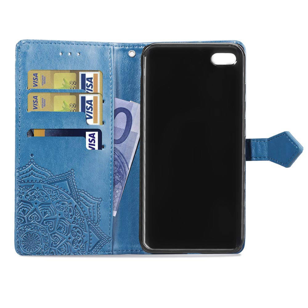 Funci/ón de Soporte PU Cuero Flip Folio Carcasa Cierre Magn/ético Billetera PU Cuero Funda para Apple iPhone 6 Plus // 6S Plus MRSTER Funda Compatible con iPhone 6 Plus SD Mandala Blue