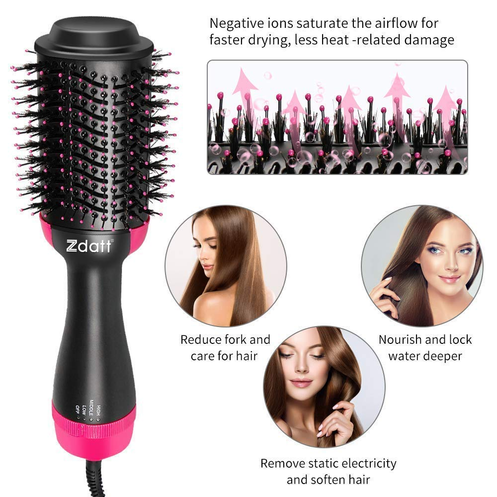 ZDATT Hot Air Hair Brush & Volumizer, 3-in-1 Salon Styling Hair Dryer and Styler, Negative Ion Straightening Brush Curl Brush, Multi-functional for Straight & Curly Hair. UL Swivel Wire b by ZDATT (Image #6)