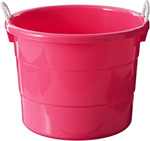 HOMZ 0402PKDC.02 Rope Handle Tub, Set of 2, Pink, 2 Pack