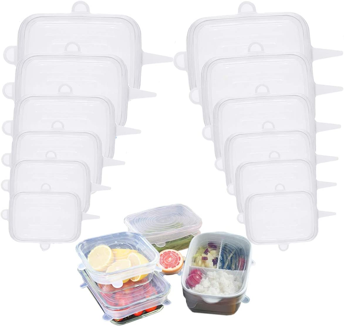 Silicone Stretch Lids Square 12-Pack, Reusable Food Container Lids, BPA-Free, Eco-Friendly Bowl Covers, Microwave, Oven & Dishwasher Safe