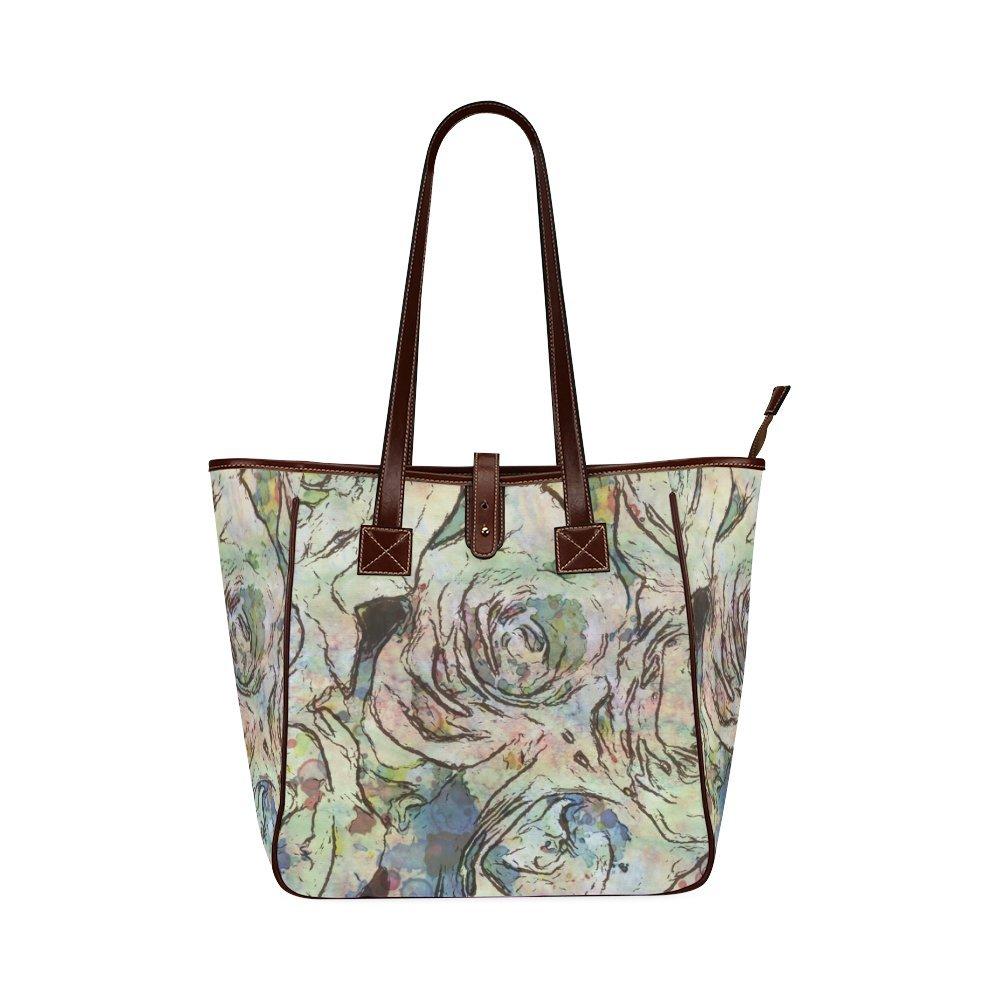 Find Arts Customized Floral Art StudioDesign Classic Tote Bag Shoulder Leather Tote Bag 077