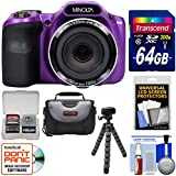 Minolta MN35Z 1080p 35x Zoom Wi-Fi Digital Camera (Purple) 64GB Card + Case + Flex Tripod + Kit