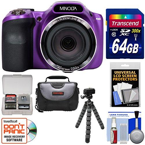 Minolta MN35Z 1080p 35x Zoom Wi-Fi Digital Camera (Purple) with 64GB Card + Case + Flex Tripod + - Purple Case Lcd