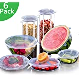 Silicone Stretch Lids Reusable Expandable【BPA Free】, 6 Pack TERSELY Eco-Friendly Silica Reusable Lids Food Saving Covers for Various Sizes Bowl Containers, Safe in Microwave and Freezer (Clear)