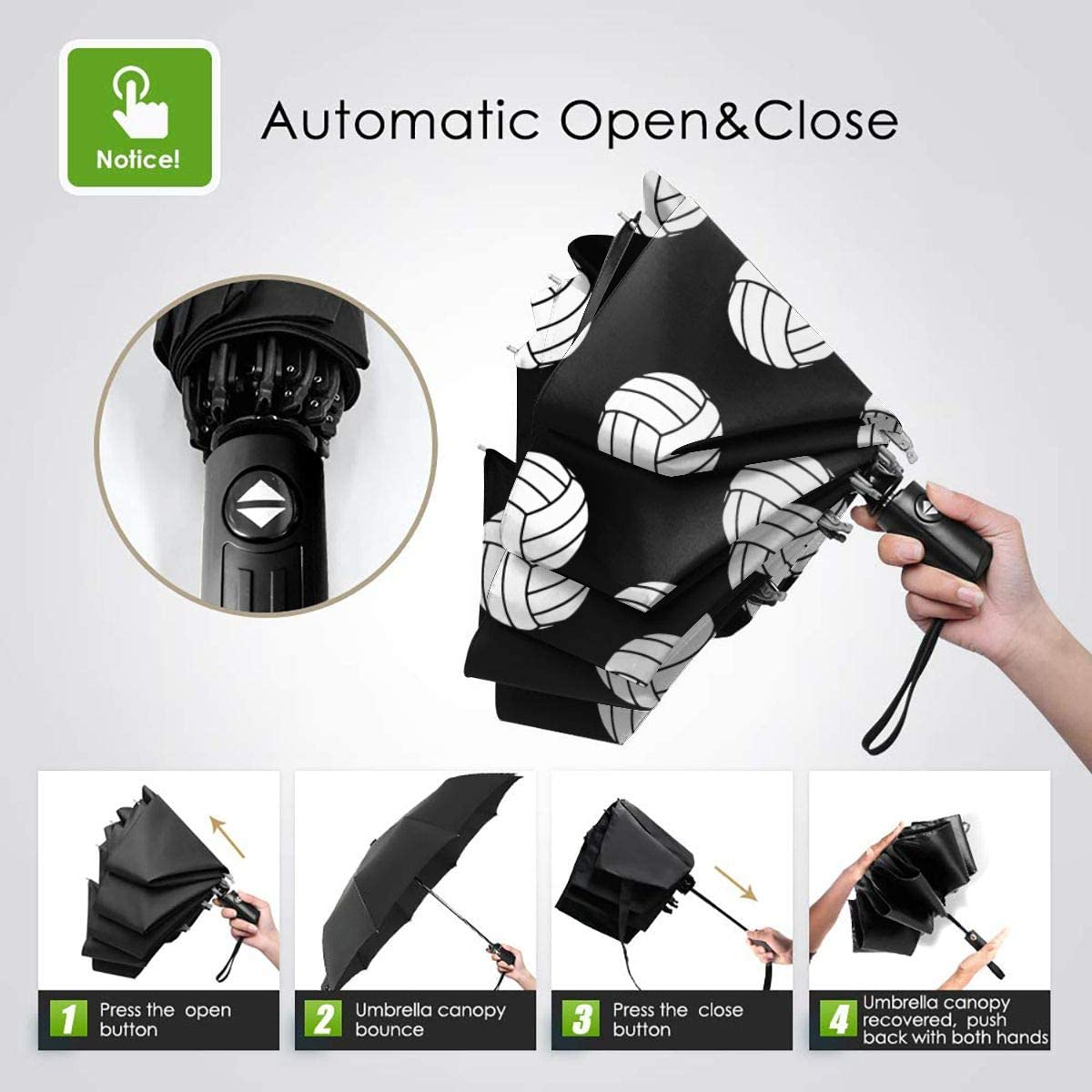 Black And White Volleyball Balls Automatic Tri-Fold Umbrella Parasol Sun Umbrella Sunshade