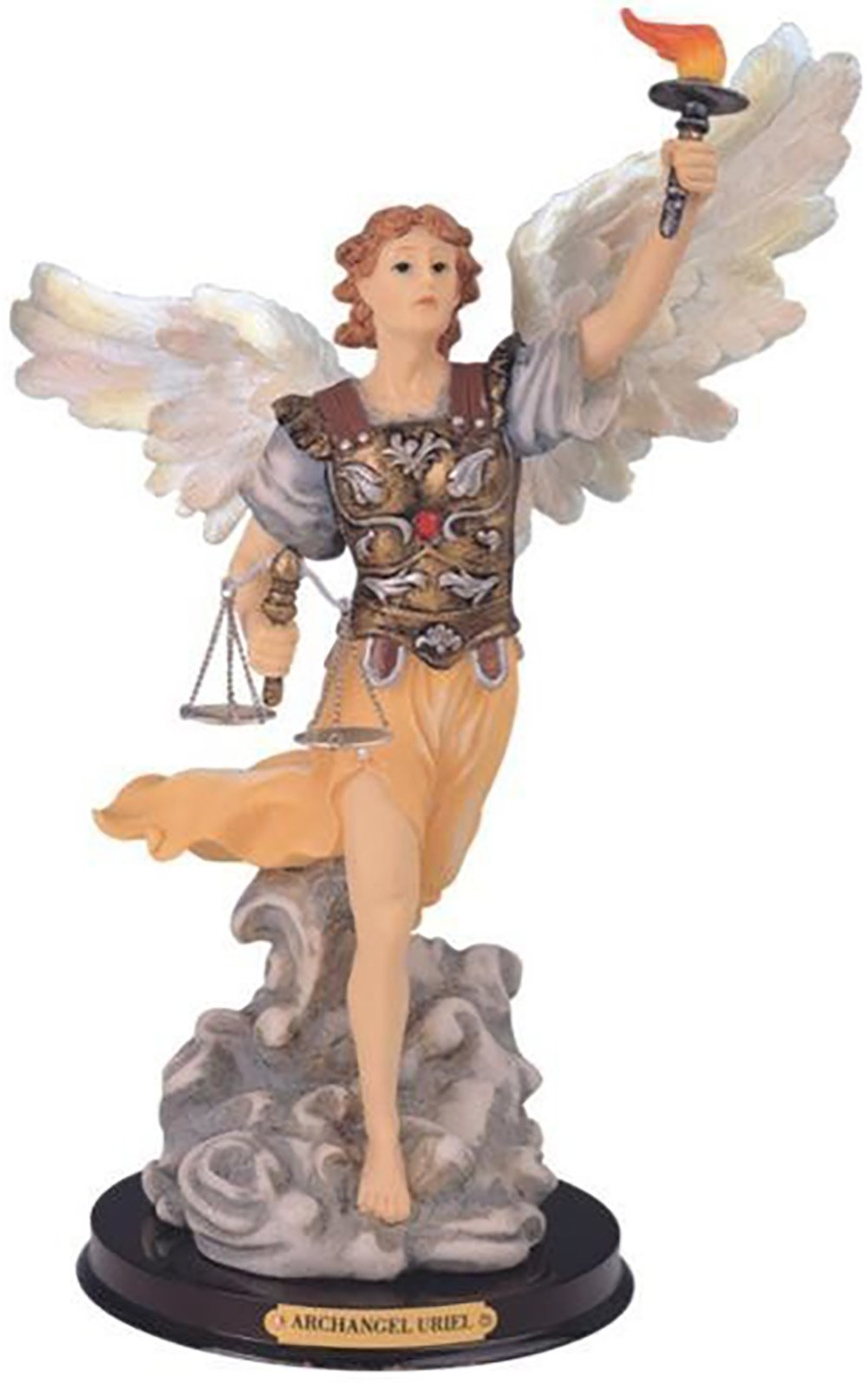 "Custom & Unique {12'' Inch} 1 Single Large, Home & Garden ""Standing"" Figurine Decoration Made of Resin w/ Majestic Bold Realistic Archangel Christian Holy Uriel Style {Assorted Color} by mySimple Products"