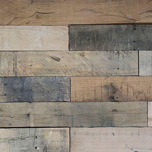macLEDs PLANK-20SF-mixed Hardwood Wall Planks 20 Sq.'. Peel & Stick Distressed Mixed Wood Wall Planks