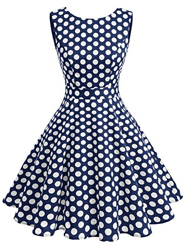 Wedtrend Women's Rockabilly 1950s Audrey Dress Polka Dots Retro Cocktail Swing Dress - Women Fashion 1950