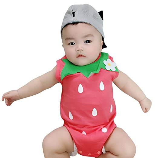 bdd900c2def QingFan-Baby Clothes Toddler Baby Kid GILR Romper Sleeveless Jumpsuit  Outfits Strawberry Floral Print Elastic