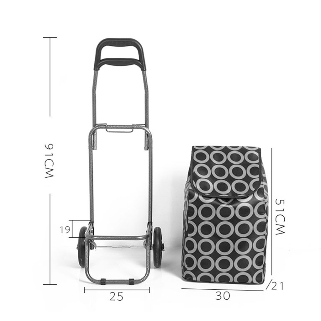 Shopping cart Push-pull cart Grocery cart Luggage cart Trolley cart Trolley trailer Small hand cart Home elderly shopping cart (Color : Color, Size : 192591cm) by Shopping trolley (Image #4)