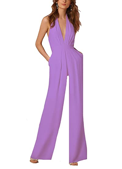499d894109ff Amazon.com  Coolred-Women Overall Sleeveless High Neck Leisure Sexy Formal  Jumpsuit Light Purple S  Clothing