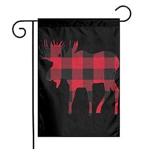 ZZATAA Buffalo Plaid Moose Garden Flag Decoration Banner Decorative Sweet Home Yard Festival Outdoor 12X18inch