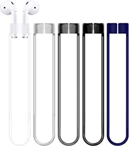 Compatible for AirPods Anti-Lost Straps Accessory - 5PCS Dark Gray Clear Blue Black Assorted Strings, Soft Sport Tether Lanyard, Running Silicone Wire Cable Connector, Silica Gel Neck Rope Cord