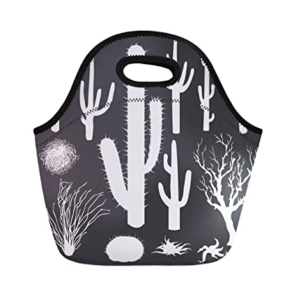 c7ac8d7b0e65 Amazon.com: Semtomn Lunch Bags Western Cactus of White Silhouettes ...