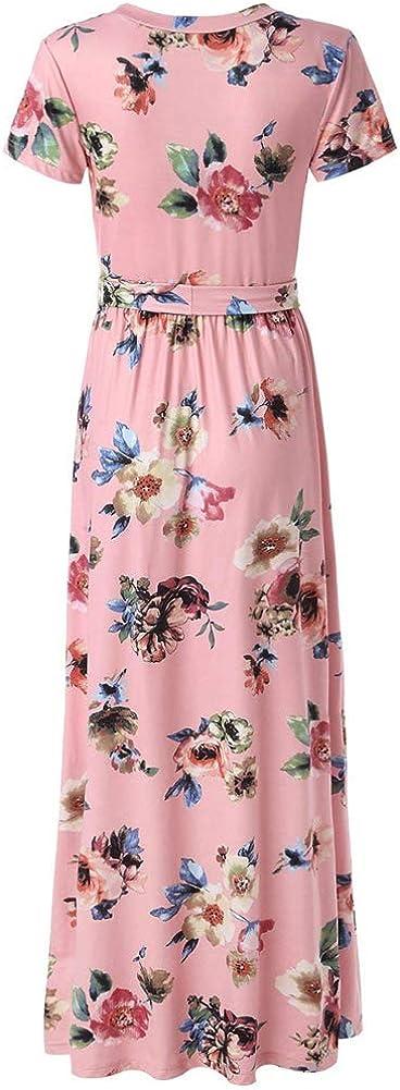 Lover-Beauty Damen Maxikleider Elegant Blumen Boho Sommerkleid V-Ausschnitt Lang Kleid Strandkleid Mit G/ürtel