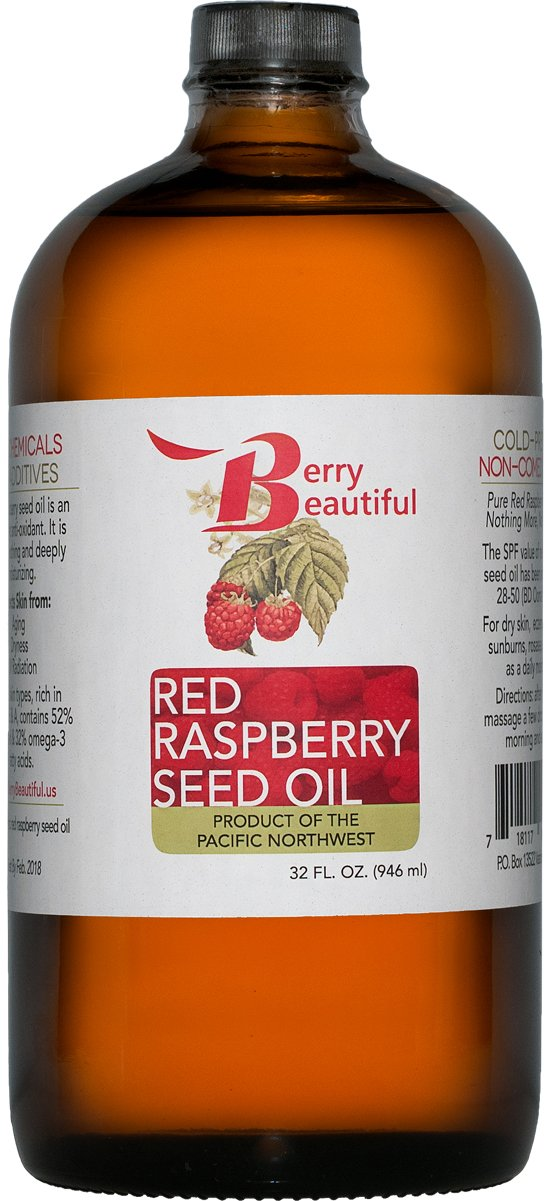 Red Raspberry Seed Oil - 32 Fl Oz (946 mL) in Glass Bottle - Cold Pressed by Berry Beautiful from locally grown Raspberries - 100% Pure & Unrefined by Berry Beautiful (Image #1)
