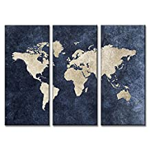 DVQ Art-Framed Abstract Blue World Map Painting Print On Canvas Modern Navy Blue Maps Wall Pictures For Living Room Office Decorative Ready to hang 3 Pcs/Set (16x32inchx3p(40x80cmx3p))