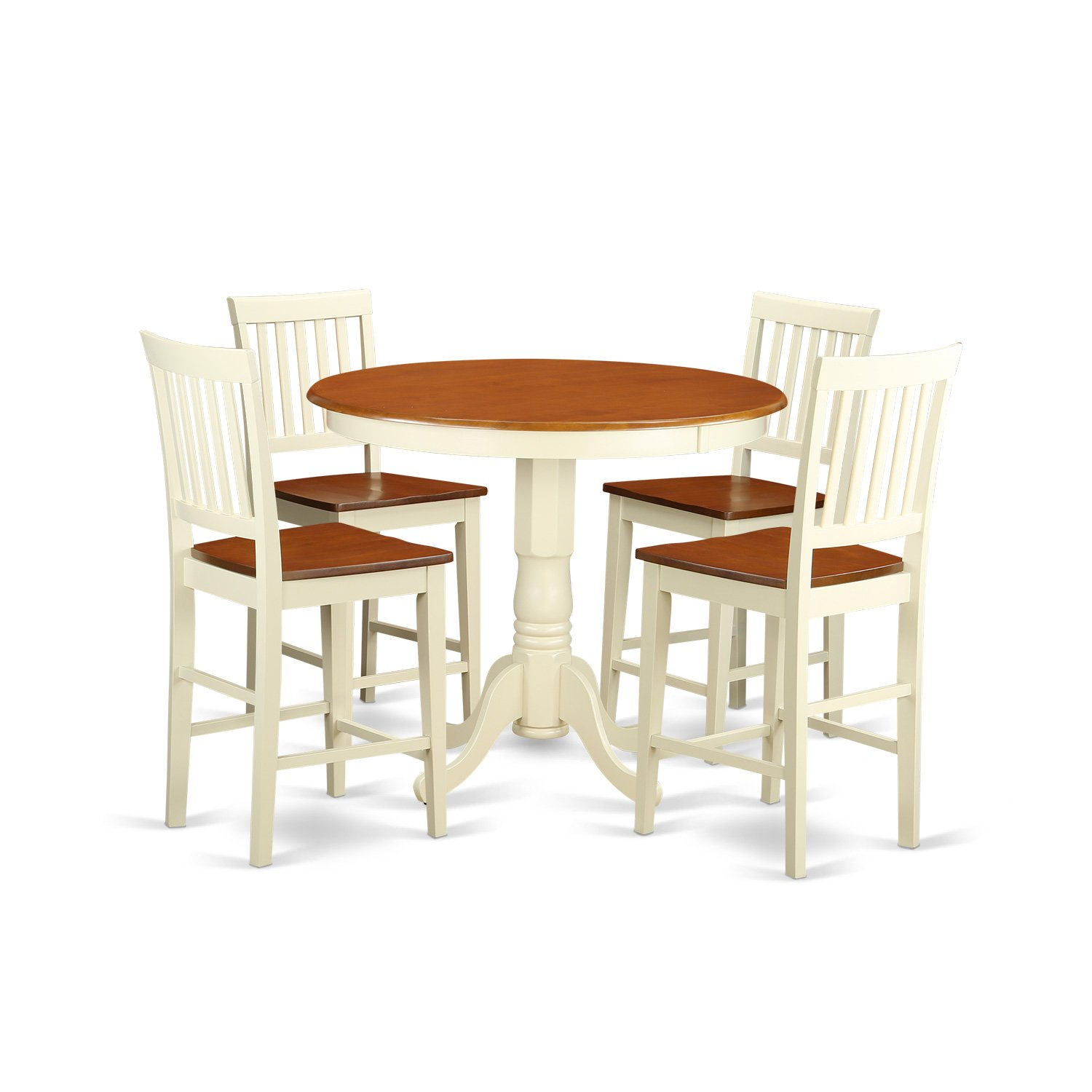 JAVN5-WHI-W 5 Pc counter height Dining set-high Table and 4 Kitchen Chairs