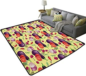 Eggplant Home Decor Mats Eggplant Tomato Relish Onion Going Green Eating Organic Tasty Preserve Nature Modern Indoor Carpet for Boys Multicolor 79 x 118 Inch