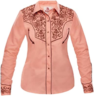 Modestone Womens Embroidered Fitted Western Camisa Vaquera Floral Pink: Amazon.es: Ropa y accesorios