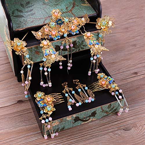 Golden Tassel Costume Colored Beads Long Tassle Hairpins Bridal Headdress Retro Chinese Style Dragon And Phoenix Hair Decoration ()
