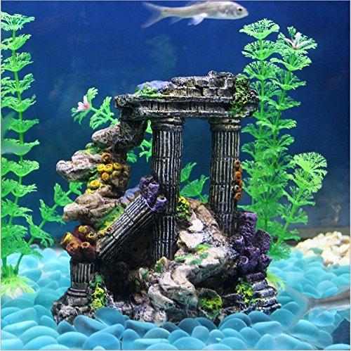 Evergreen - Adornos para decoración de acuario de columna romana de resina de simulación para peceras, peceras, rocas, ruinas, plantas de decoración de ...
