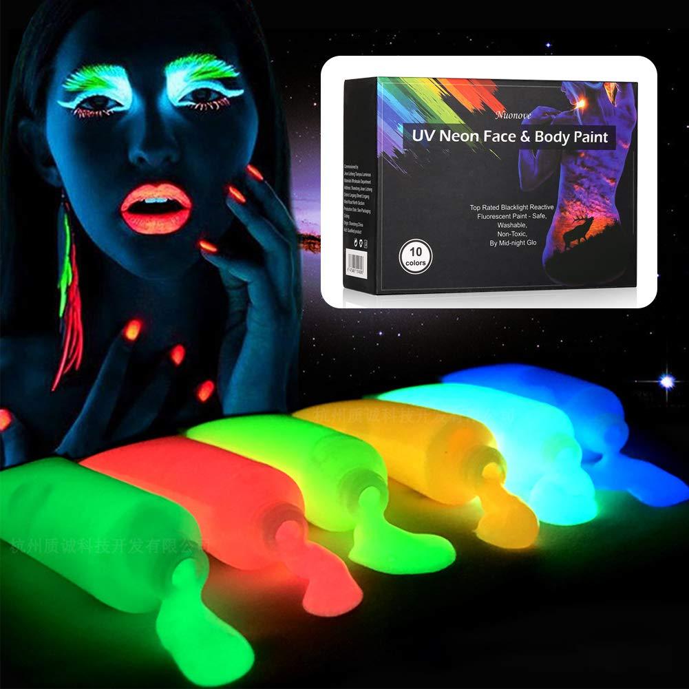 UV Bodypainting, Körperfarben Set, UV-Licht Bodypainting Schminke für Body und Facepainting, Fluoreszierende Körpermalfarben im Schminkset für knalligen Glow-Effekt | 10 Farben Körperfarben Set Nuonove-Store